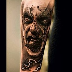 - Dunkle Damon Tattoo Designs Demon tattoo on the shoulder Evil Tattoos, Zombie Tattoos, Clown Tattoo, Wicked Tattoos, Creepy Tattoos, Badass Tattoos, Body Art Tattoos, Sleeve Tattoos, Maori Tattoos