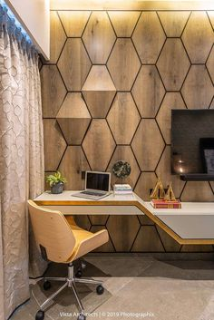 A compact study table. Wooden wall cladding and a compact study table. Inside a luxury Mumbai apartment saturated with patterns and textures from floral wallpapers and layered textures to quirky bathroom elements. Interior Design Blogs, Home Design, Interior Decorating, Design Ideas, Bedroom Interior Design, Bedroom Tv Unit Design, Small Home Interior Design, Tv Unit Bedroom, Study Room Design