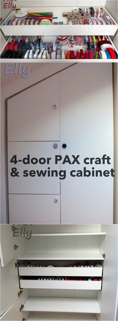 IKEA PAX as 4-door craft and sewing cabinet http://www.ikeahackers.net/2017/06/ikea-pax-4-door-craft-sewing-cabinet.html
