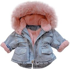 Amazon.com: MOMKER Toddler Denim Fur Jacket Thicken Warm Fleece Lined Long Sleeve Hooded Jean Outwear Winter Coat for Girls: Clothing Denim Jacket With Fur, Denim Coat, Faux Fur Jacket, Hooded Jacket, Girls Winter Jackets, Baby Girl Jackets, Parker Coat, Parka, Kids Coats