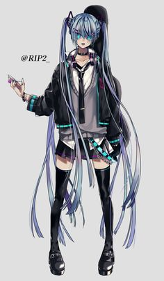 Emo Anime Girl, Anime Guys, Kawaii Girl, Kawaii Anime, Anime Demon, Manga Anime, Vocaloid, Miku Chan, Gothic Anime