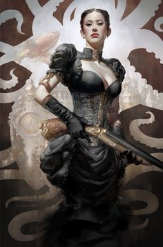 asian woman female noble fighter guns rifle steampunk victorian poc woc character fantasy steampunk art -- Fantasy Art & Illustration by Cynthia Sheppard Mode Steampunk, Steampunk Fashion, Steampunk Female, Asian Steampunk, Character Portraits, Character Art, Fantasy Characters, Female Characters, Steampunk Characters