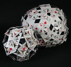 Make your own spheres with nothing but playing cards, a pencil and scissors. Big one is 1 foot across!