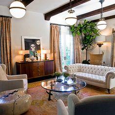 White Chesterfield Sofa, Mediterranean, living room, Estee Stanley