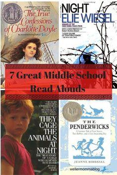 7 Great Middle School Read Alouds//tween reads//book list for kids//kid lit//YA fiction, non-fiction, memoir//Avi//Elie Wiesel//Michael Jennings Burch//Birdsall//middle school//literature//kid lit//books//children's books//reading//read alouds//read books