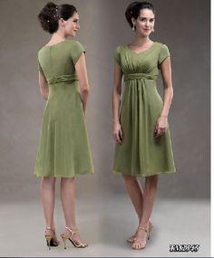 A-line Hotsale Chiffon Dark Green Short Sleeves The Ellen Collection TM 1545 Knee Length Mother Of The Bride Dresses MOBD026