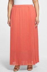 Sejour Pleated Chiffon Maxi Skirt (Plus Size)
