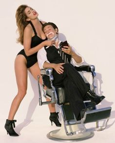 """Cindy Crawford & k. lang - Vanity Fair cover shoot by Herb Ritts, August 1993 """"I remember K. blushing as I climbed on top of her. Kd Lang, Herb Ritts, Happy 50th Birthday, Annie Leibovitz, Portraits, Top Photographers, Iconic Photos, Cindy Crawford, Vanity Fair"""