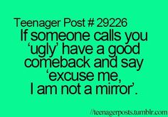 Some one called me that to day and I used then me and my bff thought of some thing to say after so the scene went like this . Excuse me I am not a mirror then my bff said , Do u need some ice for that burn Comebacks And Insults, Funny Comebacks, Mean Comebacks, Funny Insults, Teen Life, Think, Reality Check, Laughing So Hard, My Guy