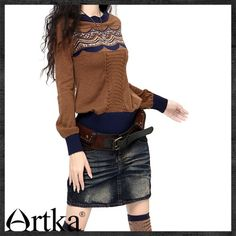 Artka Patchwork Full Sleeve Slash Neck Straight Waist Sweater YB15834D