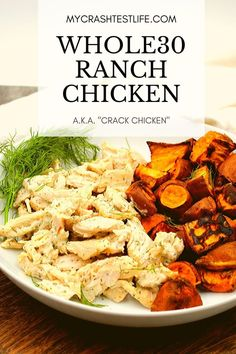 This Creamy Ranch Chicken is a healthier version of Crack Chicken. Paleo, Keto and Dairy-free, this slow cooker chicken is the perfect easy dinner. Paleo Whole 30, Whole 30 Recipes, Clean Recipes, Paleo Recipes, Cooking Recipes, Whole 30 Chicken Recipes, Whole30 Dinner Recipes, Flour Recipes, Clean Eating
