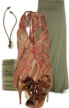"""""""Olive Maxi Skirt"""" by pippimommy on Polyvore"""