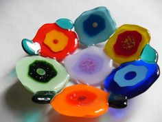 Contemporary blooms colorful fused glass bowl by sherrylee16, $45.00