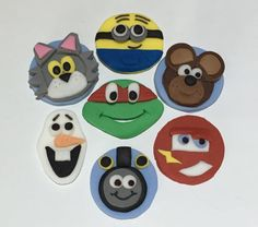 12 x edible icing Childrens character themed cupcake toppers by ACupfulofCake on Etsy£20.50
