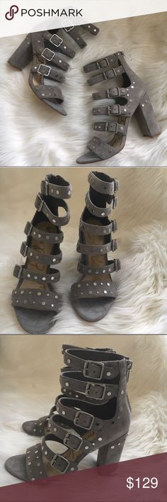 Sam Edelman shoes Grey Suede gladiators with silver tone studs and hardware with 3 inch heels by Sam Edelman New! With box Authentic 🚫trades Tote Sold Separately Sam Edelman Shoes Heels