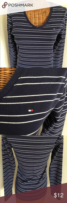 "Tommy Hilfiger Striped Top Navy & gray striped long sleeve v-neck tee. Cotton & washable. 17"" across bust, 14.5"" across shoulders, 24"" long, sleeve length 24"". Tommy Hilfiger Tops Tees - Long Sleeve"