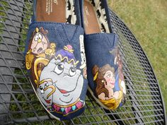 Beauty And The Beast Custom Painted Toms Vans Shoes Disney Belle Mrs Potts Chip Cogsworth Lumier - by SeriouslySavage Painted Canvas Shoes, Painted Toms, Custom Painted Shoes, Hand Painted Shoes, Custom Shoes, Sharpie Shoes, Magic Shoes, Belle Cosplay, Disney Toms