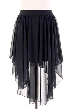 Hi-Low Black Sheered Skirt