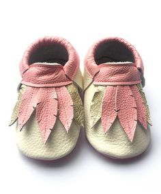 Another great find on #zulily! Cream & Pink Feather Leather Booties #zulilyfinds