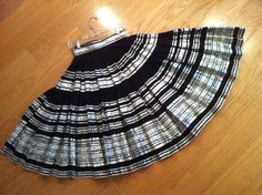 Fabulous - Vintage 1940s 1950s Indian Skirt - Black with Silver and White Ribbon Trims