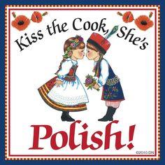 """Polish Gift Magnet Tile """"Kiss Polish Cook"""""""