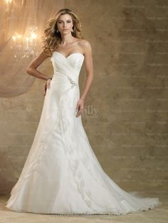 A-line Sweetheart Organza Satin Sweep Train White Beading Wedding Dresses at Millybridal.com