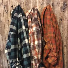 Vintage Flannel, Distressed Flannel, Grunge Flannel, 3-Pack Flannel Shirts