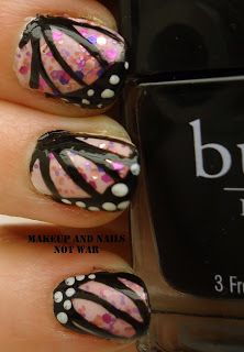 From the Vault: Butterfly Nails I did the same design but with a floral pink underneath.