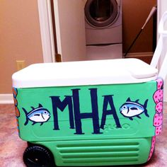 southern tide painted cooler! Awesome because these ARE ALREADY MY INITIALS!!!