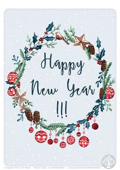 Greeting card Happy new year Best wishes watercolor illustration holly wreath happy new year card Happy New Year Baby, Happy New Year Text, Happy New Year Banner, Happy New Year Images, Happy New Year Cards, Happy New Year Wishes, Happy New Year Greetings, Happy New Year 2020, New Year Wishes Cards