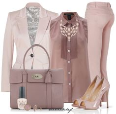 Pink in different shades. I love a nice Emilio Pucci Blazer and Pants, with awesome Guiseppe Zanotti shoes and accesorize with Valentino purse.