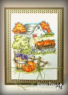 Art Impressions Rubber Stamps: Harvest Tryfold card by Karen Day