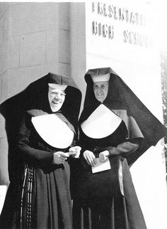 Sisters of the Presentation of the Blessed Virgin Mother. Although these nuns are from Presentation HS in Chicago, they have the same habit that my nuns had in grade school in San Francisco (I couldn't find a pix of them).
