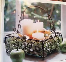 Jamestown Centerpiece Southern Living At Home -Willow House Iron And Glass Wire Wall Basket, Wire Baskets, Baskets On Wall, Living Willow, Willow House, Candle Centerpieces, Candles, Centerpiece Ideas, Southern Living Homes