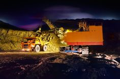 Photo about A picture of a big yellow mining truck at worksite (night). Image of equipment, mover, bulldozer - 16384086 Mining Equipment, Heavy Equipment, Caterpillar Toys, Work Site, Big Yellow, Vintage Graphic Design, Monster Trucks, Engineering, Australia