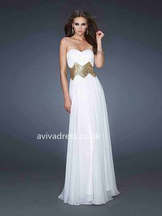 A-line Sweetheart Sleeveless Floor-length Chiffon White Glam Prom Dresses Prom Dress 2014, Beautiful Prom Dresses, Cheap Prom Dresses, Strapless Dress Formal, Formal Dresses, Prom 2014, Dresses 2014, Evening Dresses Uk, Special Occasion Dresses
