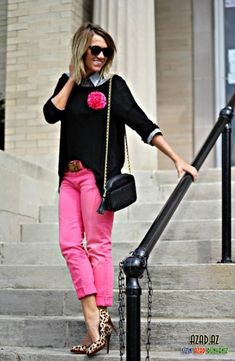 Hot pink pants fall outfit