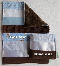 Baby Boy Sensory Security Blanket Lovey - puppy love - Get One Give One to babies in Kenya, $30.00
