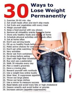 30 Ways to Lose Weight Permanently!