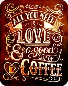 Coffee Lover Gift - All You Need Is Love And Coffee - Kitchen Art - Chalkboard Art - Kitchen Print - Chalk Art - Coffee Chalkboard - Handlettering - I Love Coffee, Coffee Art, Coffee Shop, Coffee Cups, Coffee Beans, Black Coffee, Coffee Maker, Coffee Drinks, Coffee Time