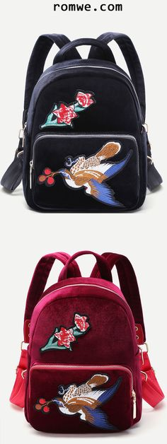 Bird Embroidered Pocket Front Velvet Backpack