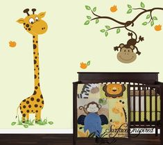 For LAToya Nursery Wall Decals Baby Giraffe With Monkey by SurfaceInspired,