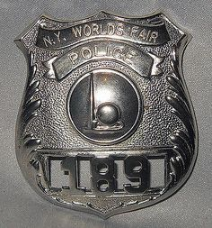 -Rare- -NY World's Fair- Original Vintage Police Uniform Badge Police Badges, Police Uniforms, Law Enforcement Badges, Police Station, World's Fair, Leo, Patches, Army, Military