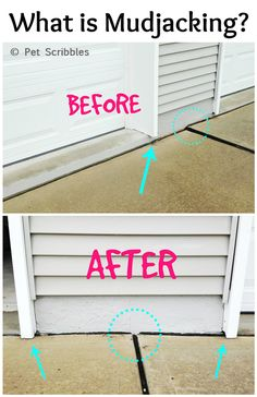 Mudjacking is a way to raise sinking concrete driveways, sidewalks or concrete slabs (like a patio) back up to where they should be. Concrete Driveways, Concrete Pad, Concrete Steps, Concrete Porch, Concrete Lifting, Stained Concrete, Cement, Home Repairs, Driveway Repair
