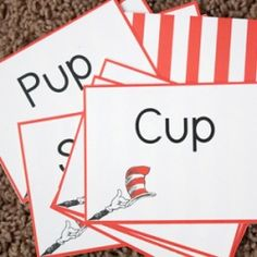 Print this cute game for little ones to practice rhyming and beginning reading based on Dr. Suess' Hop on Pop!