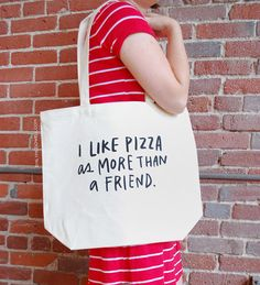 Large Sturdy Thick Canvas I Like Pizza As by emilymcdowelldraws, $20.00