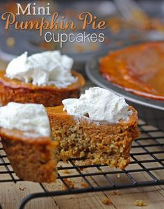 Mini Pumpkin Pie Cupcake recipe. A flax seed crust & what resulted was a yummy accident. It's a tastes like a combination of a pumpkin muffin & cupcake