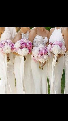 Clean, beautiful wedding dress, bridesmaid dress and flower bouquets!