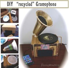 DIY Gramophone with recyclables and $5.00  iPhone speaker perfect for Downton Abbey, Gatsby or 20's flapper party