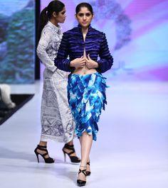 Blue Cotton Tie Dyed Jacket #designerwear #satin #crepe #fusionwear